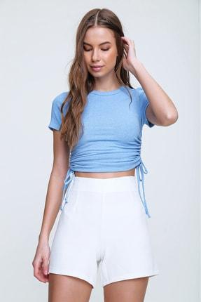 Trend Alaçatı Stili Kadın Mavi Yanı Büzgülü Kaşkorse Bluz ALC-X6078 2