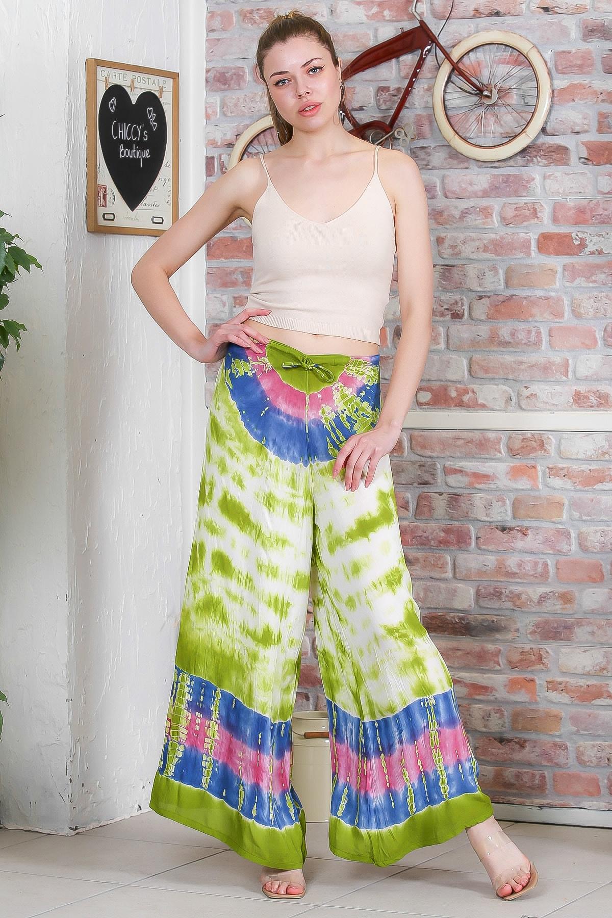 Chiccy Kadın Yeşil Batik Desenli Bol Paçalı Dokuma Pantolon M10060000PN98899 3