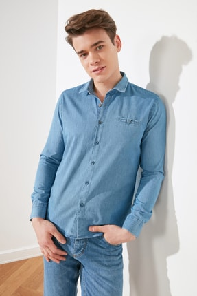 Picture of Açık Mavi Erkek Slim Fit Fileto Cepli Denim Gömlek TMNSS21GO0592
