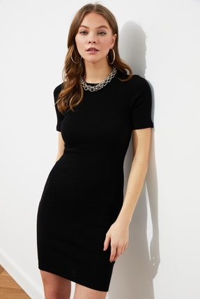 TRENDYOLMİLLA Siyah Mini Örme Elbise TWOSS19AD0053 3