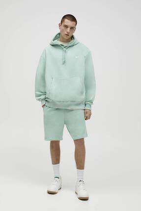 Pull & Bear Erkek Yeşil Basic Renkli Kapüşonlu Sweatshirt 2