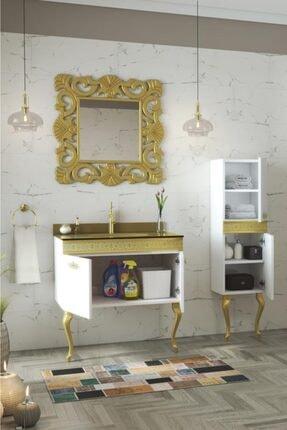 Housepack Gold Beyaz 100 Cm (65+35)boy Dolaplı Cam Lavabolu Lüx Banyo Takımı 1