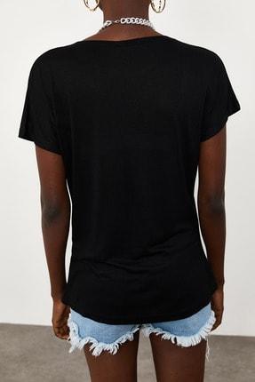 Xena Kadın Siyah Yumuşak Dokulu Esnek Örme Baskılı T-Shirt 1KZK1-11560-02 4