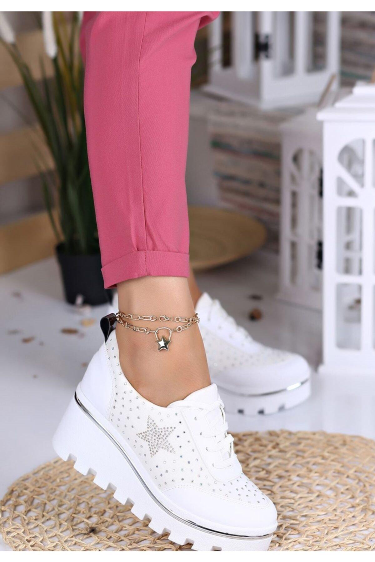 Kadın Beyaz Dolgu Topuk Spor Tarz Ayakkabı