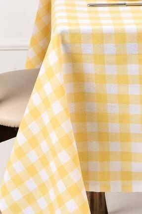 ikiparça Sarı Büyük Kare Desen Pötikareli Sofra Bezi Masa Piknik Örtüsü 0