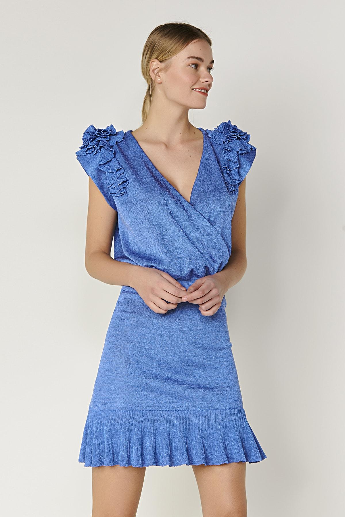 Omzu Fırfır Detaylı Triko Bluz-mavi