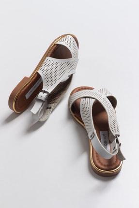 Niloshka Kadın Beyaz Lazerli Sandalet 1