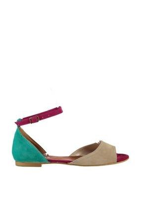 Fox Shoes Kadın Ten Fuşya Yeşil Sandalet B726555002 1
