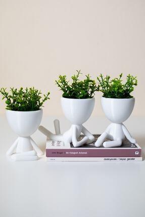 XYZ SAKSI Insansı Saksılar Beyaz 4'lü Set Yapay Çiçekli 2