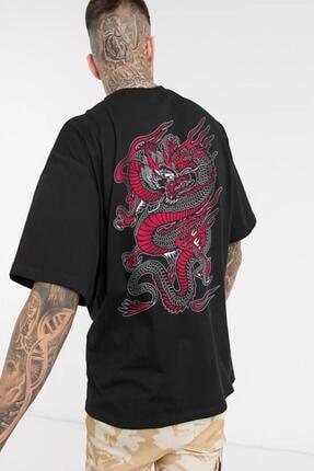 Oksit Cyrus Chinesebox Baskılı Bisiklet Yaka Unisex Oversize Tshirt 0