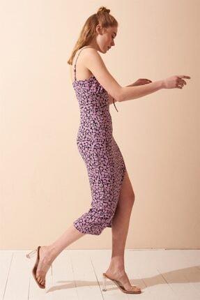 Never more Yırtmaç Detaylı Çiçekli Askılı Elbise 1