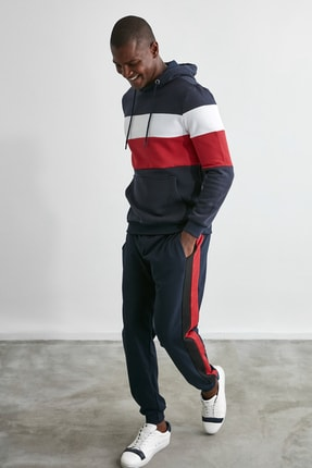TRENDYOL MAN Lacivert Erkek Slim Fit Kapüşonlu Panelli Kanguru Cepli Sweatshirt TMNAW20SW0284 4