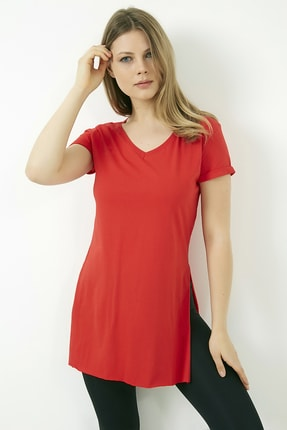 Vis a Vis Kadın Kırmızı V Yaka Yırtmaçlı Uzun Tshirt 0