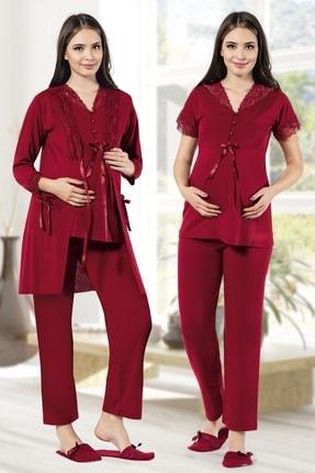 MODAREYA Sabahlıklı Kısa Kollu Lohusa Hamile Üçlü Pijama Takımı 0