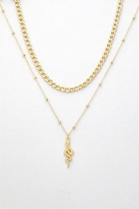 X-Lady Accessories Kadın Altın Rengi Yılan Figürlü Kombin Kolye 087 2