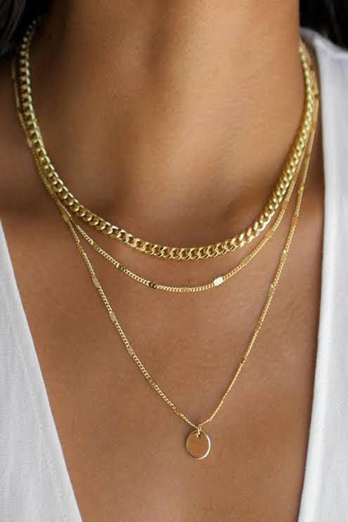 Kadın Gold Katlı Zincir Kolye