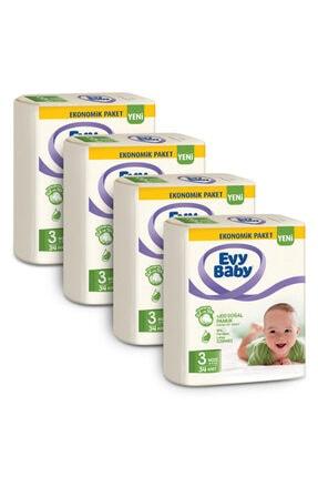 Evy Baby Bebek Bezi 3 Beden Midi 136 Adet Ve 4 Paket Islak Havlu 2