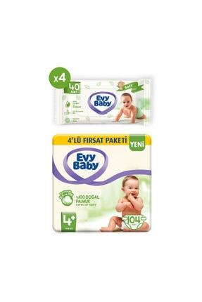 Evy Baby Bebek Bezi 4+ Beden Maxiplus 104 Adet Ve 4 Paket Islak Hvl 0