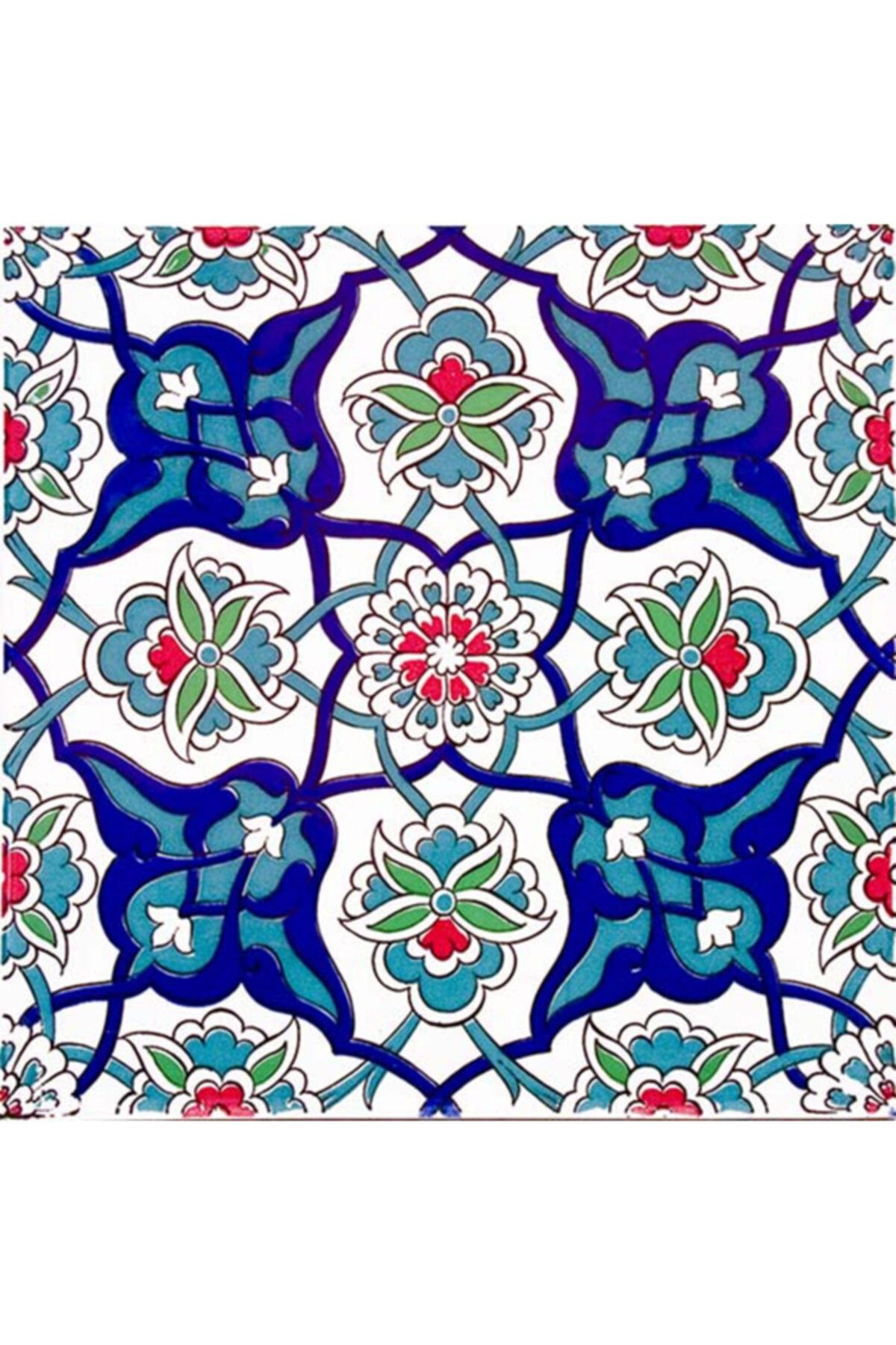 20x20 Cm Ac 27 Kütahya Çini Rumi Desenli Iznik Çini Karo