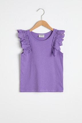 LC Waikiki Kız Çocuk Mor Fırfır Detaylı T-Shirt 0