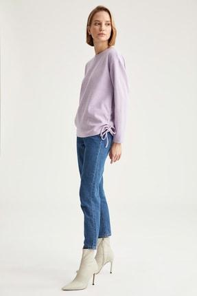 Defacto Kadın  Lılac Yanları Büzgü Detaylı Relax Fit Sweatshirt T2456AZ20WN 1