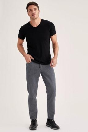 Defacto Slim Fit V Yaka Basic Premium Kalite Siyah Tişört 1