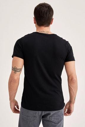 Defacto Slim Fit V Yaka Basic Premium Kalite Siyah Tişört 3