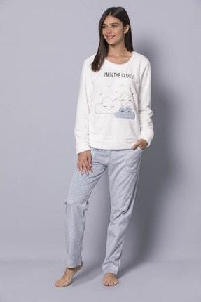 MONAMİSE Kadın 19269 Polar Pijama Takımı Beyaz 1