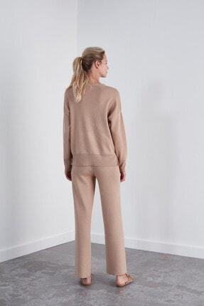 Join Us Kadın Kahverengi Beli Lastikli Triko Pantolon 3