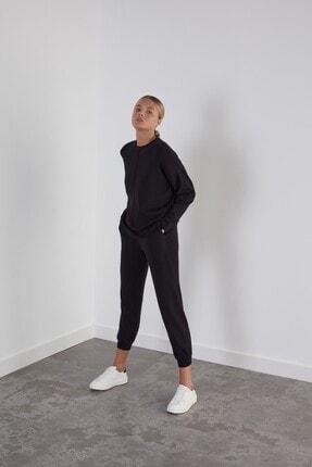 Join Us Kadın Siyah Beli ve Paçası Lastikli Cepli Triko Pantolon 1