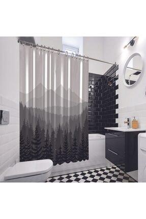 Henge Home Baskılı Duş Perde Orman Çam Desenli Dağ Siyah Beyaz Gri 2