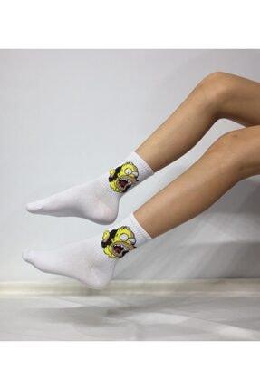Adel Unisex Penye Simpsons Desenli Kolej Çorabı 0