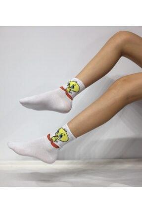 Adel Unisex Penye Tweety Desenli Kolej Çorabı 0