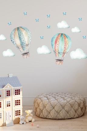 Sim Tasarım Uçan Hava Balonları Duvar Sticker Seti 0