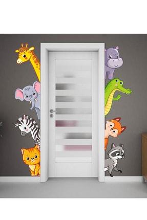 Sim Tasarım Sevimli Hayvanlar Kapı, Dolap Ve Duvar Sticker Seti 0