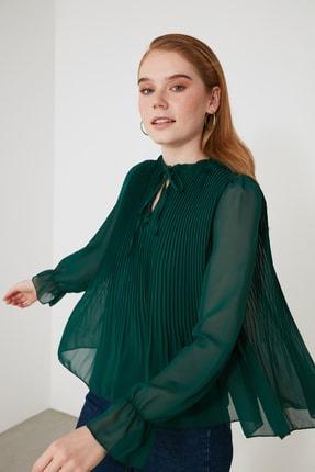Zümrüt Yeşili Piliseli Bluz TWOAW21BZ1507