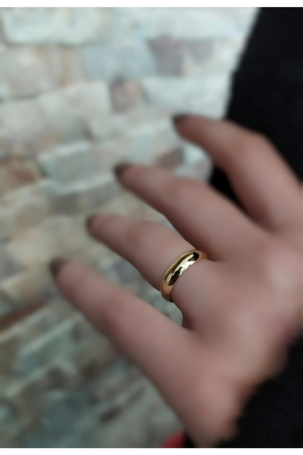 Kararmaz Gümüş 4 mm Altın Kaplama Alyans Yüzük