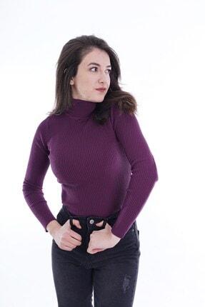 butikburuç Kadın Mor Balıkçı Yünlü Triko Bluz 3