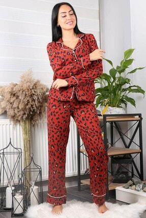 Neşeli Butik Kadın Kiremit Cepli Leopar Desenli Saten Pijama Takımı Nb7206 1