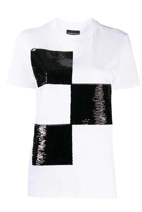 Emporio Armani Kadın Beyaz Baskılı Bisiklet Yaka Pamuklu T-Shirt 6h2t7y 2j53z 0100 0