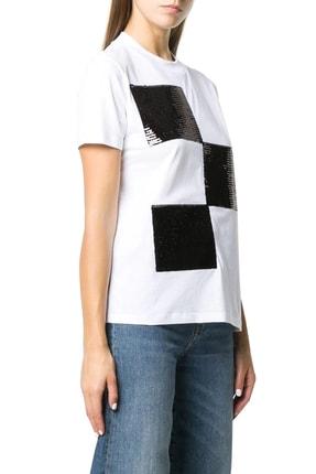 Emporio Armani Kadın Beyaz Baskılı Bisiklet Yaka Pamuklu T-Shirt 6h2t7y 2j53z 0100 2