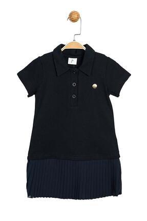 Panolino Kız Çocuk Lacivert Pike Kumaş Pilise Elbise 0