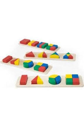 Wooden Toys Ahşap Geometrik Şekiller Bul Tak 3'lü Set-Eğitici 1