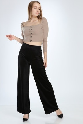 Ananas Kadın Siyah Kadife Pantolon 1