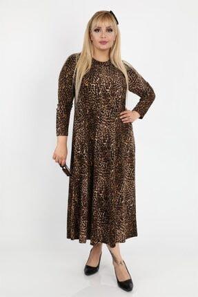 Picture of Kadın Büyük Beden Leopar Desenli Zımparalı Süet  Uzun Elbise