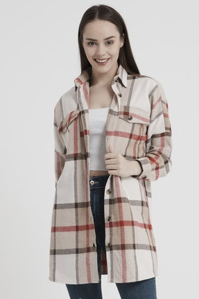 Giyinsende Kadın Kahverengi Ikonik Desen Cepli Tunik Oduncu Gömleği 0