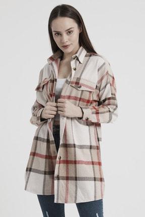 Giyinsende Kadın Kahverengi Ikonik Desen Cepli Tunik Oduncu Gömleği 3