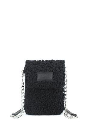 Housebags Peluş Omuz Askılı Siyah Cep Telefonu Çantası 199 0