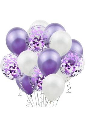 Deniz Party Store Mor Konfetili Şeffaf Balon Seti 20 Adet 0