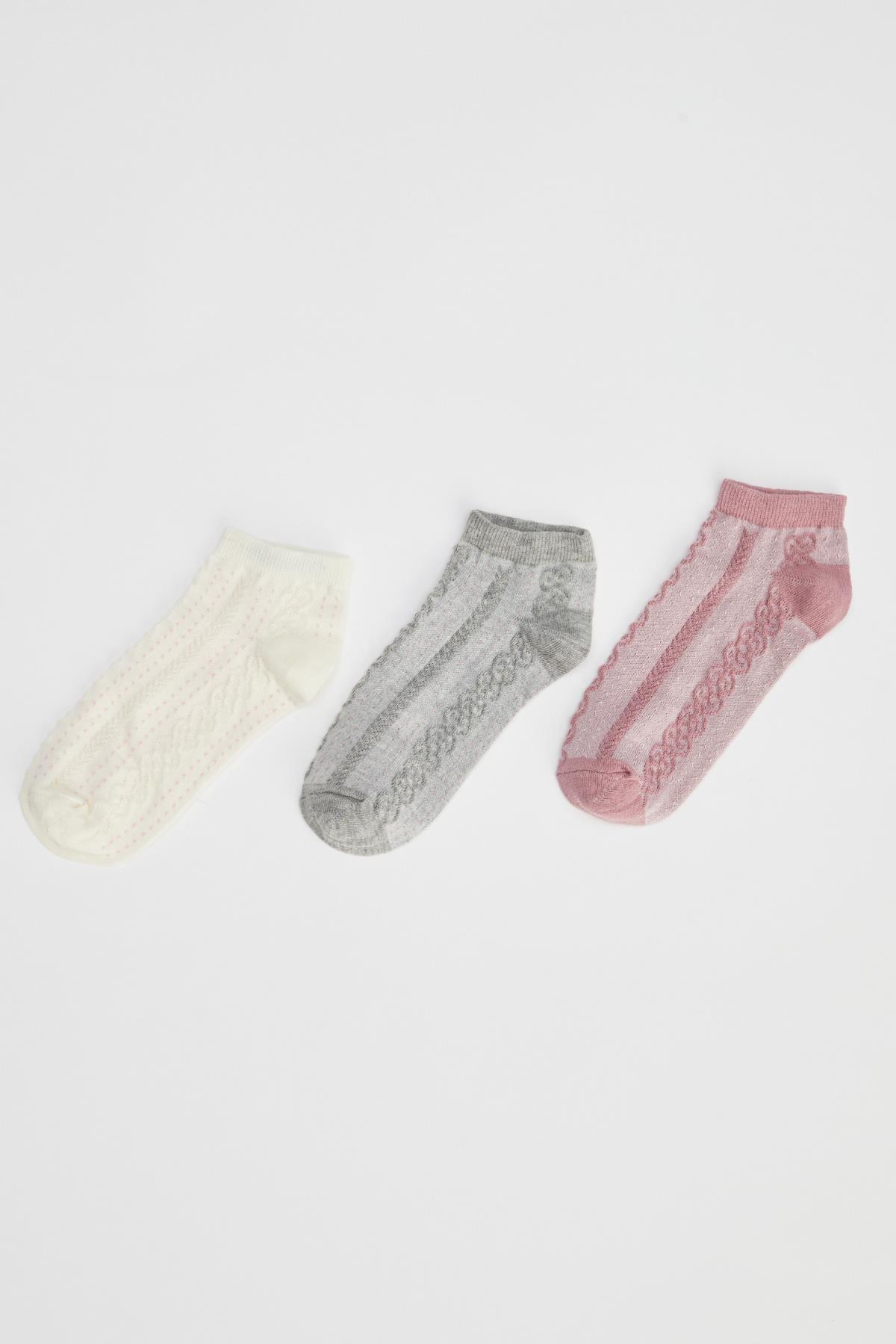 Defacto Kadın  Karma Desenli Patik Çorap 3'Lü R8314AZ21SP 0